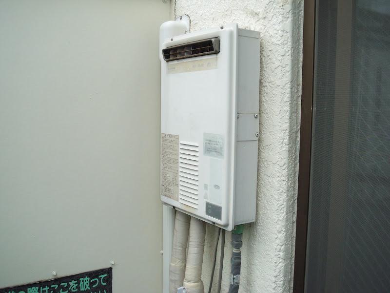 神戸市東灘区 マンション ノーリツ ベランダ設置ガス給湯器取替 工事(交換)
