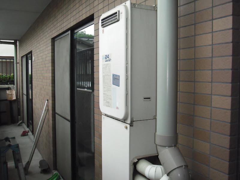 尼崎市 マンション ベランダ設置型高温差し湯タイプノーリツ給湯器取替工事交換