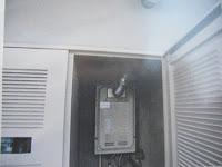 伊丹市 分譲マンション リンナイ ガス給湯器 高温差し湯タイプ 排気延長形 取替 交換 工事