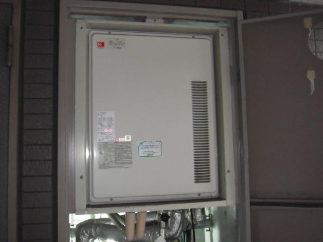 兵庫県神戸市長田区 賃貸マンション ノーリツ ガス追い炊きつき給湯器 後方排気 取替交換工事