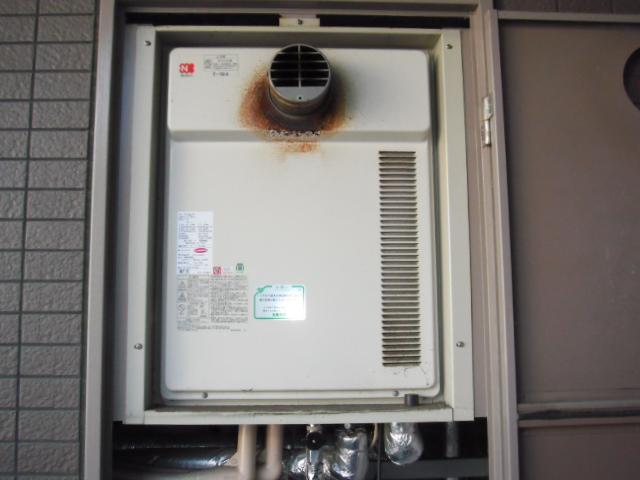 兵庫県神戸市長田区 賃貸マンション ノーリツ ガス追い焚き付き給湯器 前方排気タイプ 取替交換工事