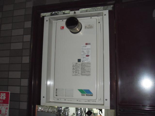 大阪市阿倍野区 マンション ノーリツガス給湯器 高温差し湯タイプ 取替交換工事