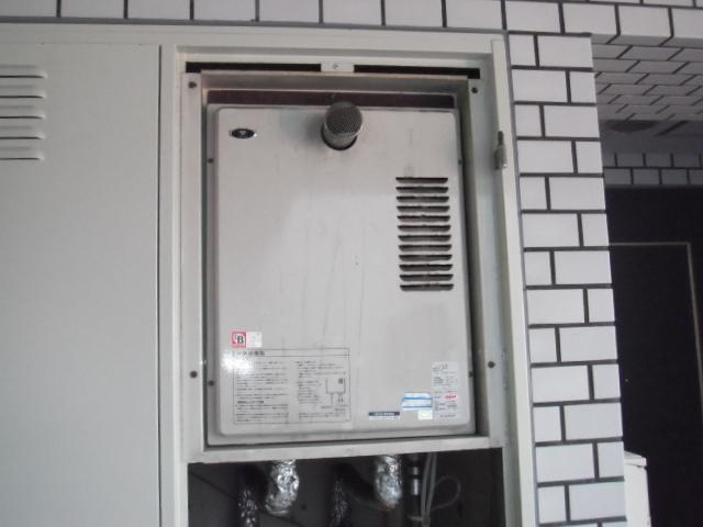 兵庫県西宮市 マンション パーパス ガス給湯器 前方排気型 取替交換工事