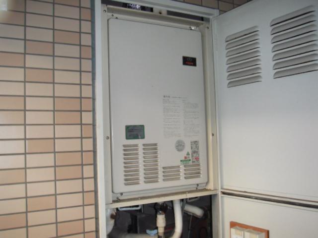 兵庫県西宮市 マンション リンナイ16号 ガス給湯暖房機 PS扉内設置 後方排気形  カワック 浴室乾燥機  取替交換工事