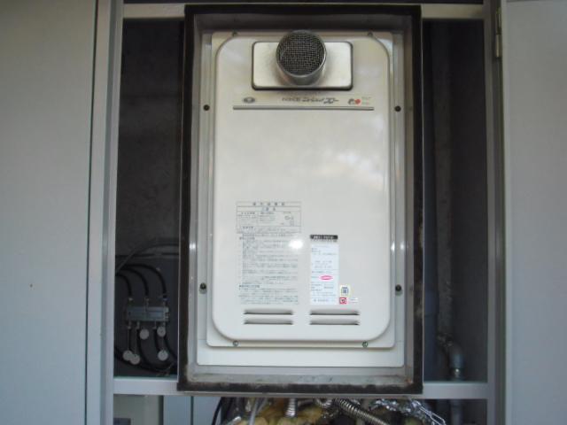 兵庫県西宮市 マンション リンナイ ガス給湯器 高温差し湯タイプ 取替交換工事
