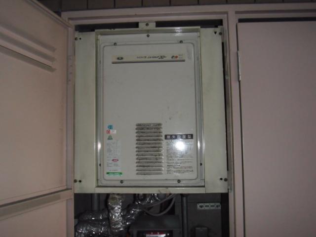 大阪市阿倍野区 リンナイ ガス給湯器 高温差し湯タイプ 扉内設置 後方排気形 取替交換工事