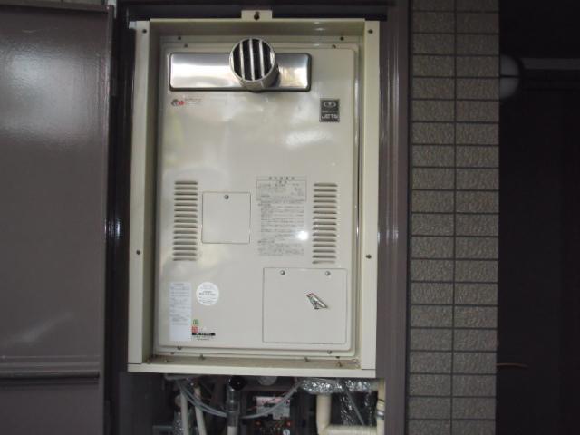 兵庫県芦屋市 マンション リンナイ ガス給湯器 高温差し湯タイプ 前方排気型 取替交換工事