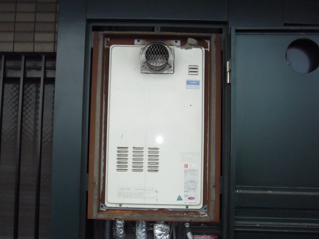兵庫県 西宮市 マンション ノーリツ ガス給湯器 高温差し湯タイプ 扉内設置形 前方排気 取替交換工事