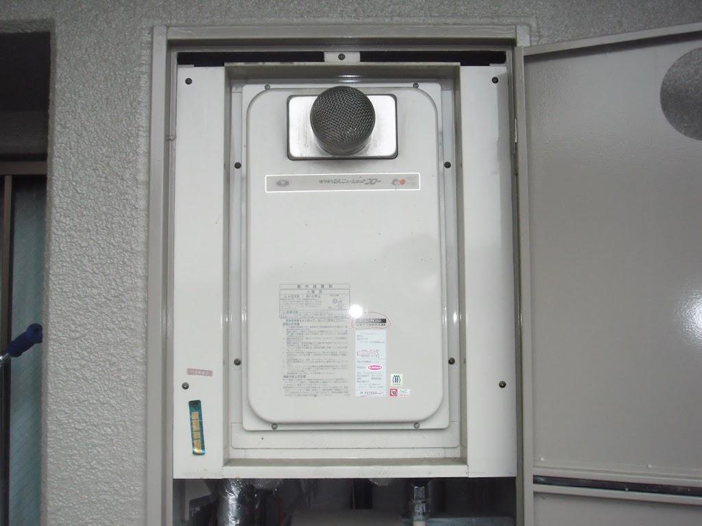 兵庫県 宝塚市 マンション リンナイ ガス給湯器 高温水供給式タイプ 前方排気形 取替交換工事