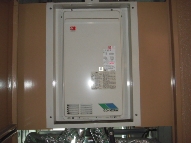 兵庫県 神戸市 東灘区 マンション ノーリツ ガス給湯器 16号 高温水供給方式 メーターボックス設置 後方排気形 取替交換工事施工