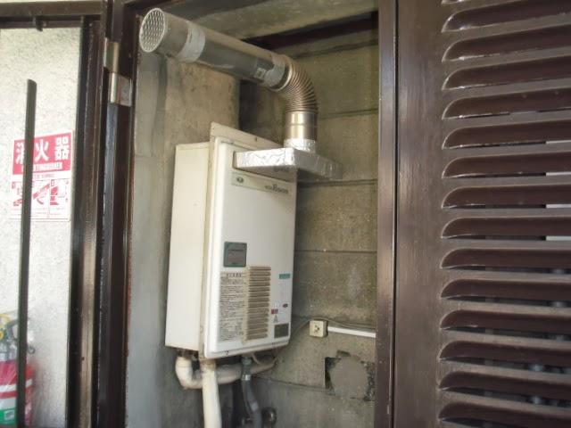 兵庫県 西宮市 マンション ノーリツ ガス給湯器  前方排気延長型 取替交換工事 施工