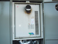 兵庫県 神戸市 須磨区 マンション ノーリツ 24号 ガス給湯器 高温水供給方式 PS扉内設置 前方排気 取替交換工事 施工