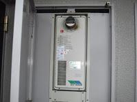 兵庫県 伊丹市 マンション ノーリツ 16号 ガス給湯器 高温水供給方式 スリム型 PS扉内設置 前方排気 取替交換工事施工