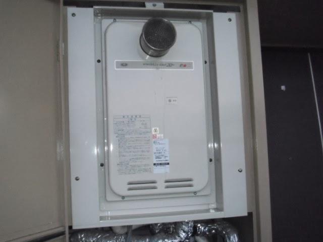 兵庫県 尼崎市 マンション ノーリツ 24号 ガス給湯器 高温水供給方式 PS設置型 前方排気 取替交換工事 施工