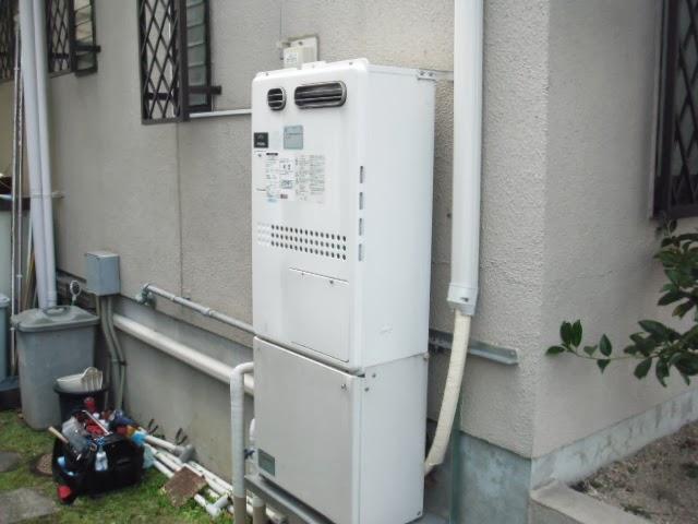 兵庫県 芦屋市 戸建て住宅 ノーリツ ガス温水暖房付きふろ給湯器 屋外設置型 24号 フルオート 取替交換工事施工