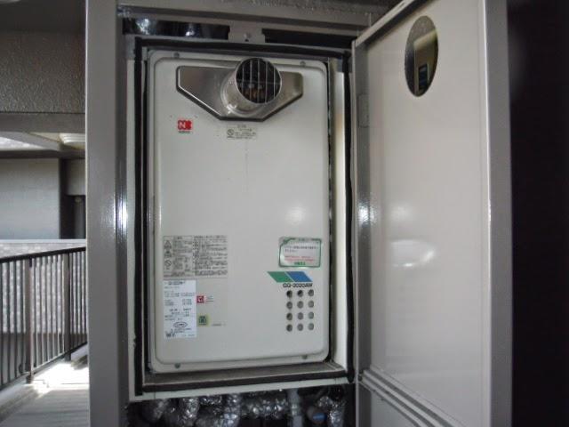 兵庫県 姫路市 マンション ノーリツ 20号 ガス給湯器 高温水供給方式 PS扉内設置 前方排気型 取替交換工事 施工
