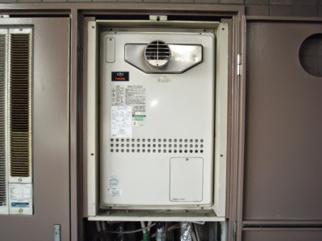 兵庫県 西宮市 マンション ノーリツ 24号 ガス温水暖房付き風呂給湯器 フルオートタイプ PS設置 前方排気 取替交換工事 施工