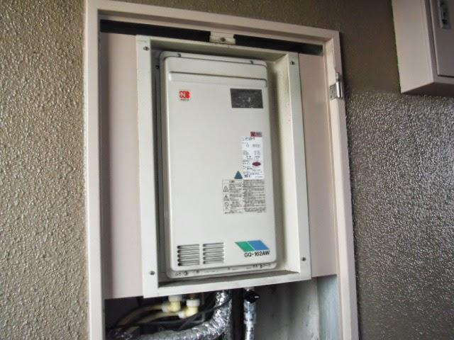 兵庫県 芦屋市 マンション リンナイ 16号 ガス給湯器 高温水供給方式 PS扉内設置 後方排気 取替交換工事 施工