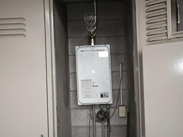 兵庫県 宝塚市 マンション ノーリツ ガス給湯器 16号 強制排気型 取替交換工事施工