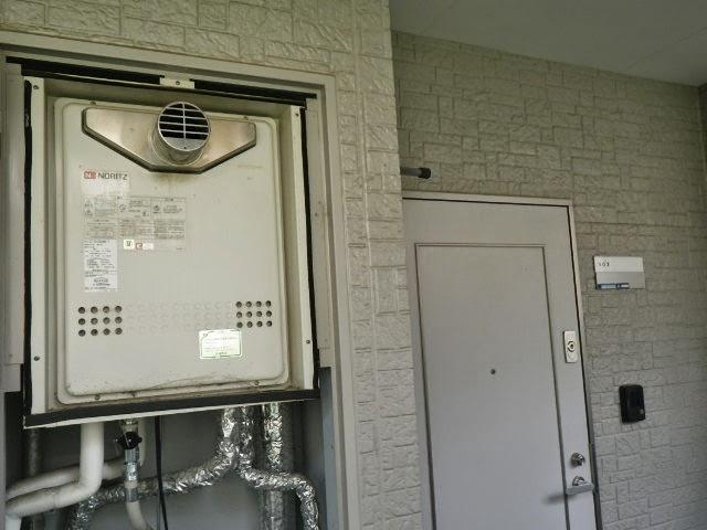 兵庫県 川西市 マンション ノーリツ ガス追い焚き付き給湯器 20号 PS扉内設置型 前方排気 セミオート 取替交換工事施工