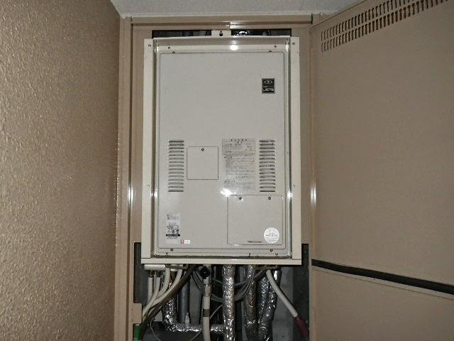 兵庫県 尼崎市 マンション ハーマン 24号 ガス温水暖房付き高温水供給式給湯器 PS扉内設置 後方排気 取替交換工事施工