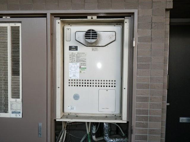 兵庫県 西宮市 マンション ノーリツ 24号 ガスふろ給湯器 フルオートタイプ PS扉内設置 前方排気 取替交換工事施工