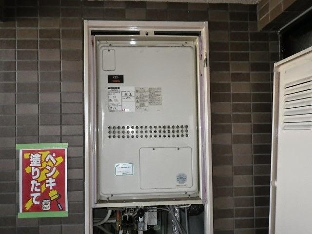 兵庫県 尼崎市 マンション リンナイ 24号 ガス温水暖房付き給湯器 セミオート PS設置形 後方排気 取替交換工事施工