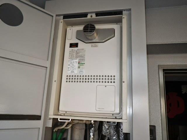 兵庫県 西宮市 マンション リンナイ 24号 ガスふろ給湯器 PS扉内設置型 前方排気 セミオート 取替交換工事施工
