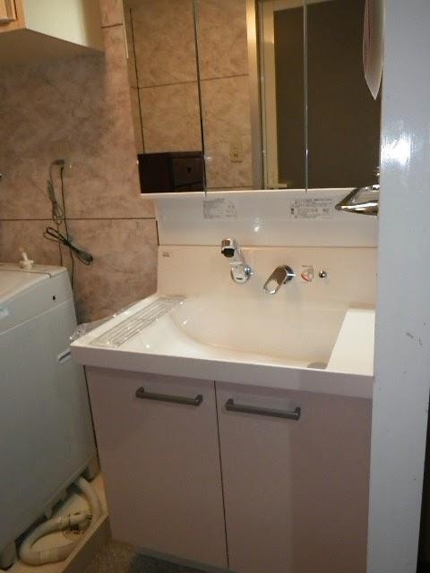 兵庫県 神戸市 垂水区 マンション INAX 750サイズ 洗面化粧台 取替交換工事施工