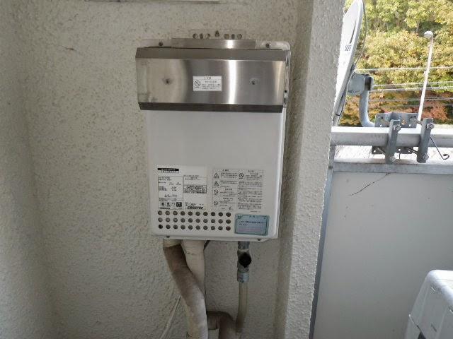 兵庫県 神戸市 須磨区 マンション ノーリツ ガス給湯器 24号 屋外設置形 取替交換工事施工