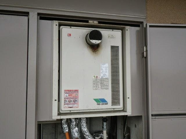 大阪府 豊中市 マンション ノーリツ 24号 ガス給湯器 高温水供給方式 PS扉内設置 前方排気 取替交換工事施工