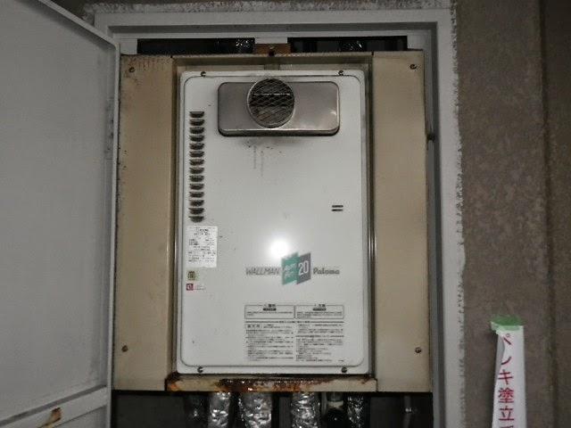 兵庫県 加古川市 マンション ノーリツ 20号 ガス給湯器 高温水供給方式 PS扉内設置 前方排気 取替交換工事施工
