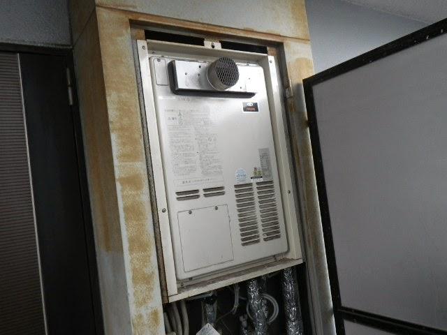 兵庫県 尼崎市 マンション ノーリツ 24号 ガスふろ給湯器 PS扉内設置 前方排気 取替交換工事 施工