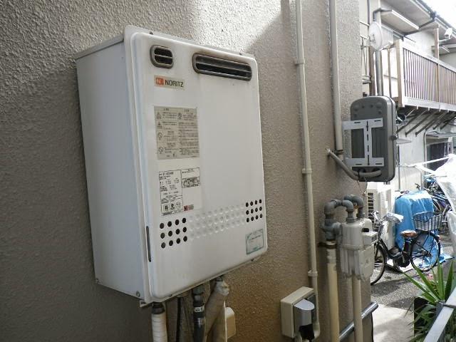 兵庫県 神戸市 東灘区 戸建て住宅 ノーリツ 24号 ガスふろ給湯器 屋外壁掛型 セミオート 取替交換工事施工