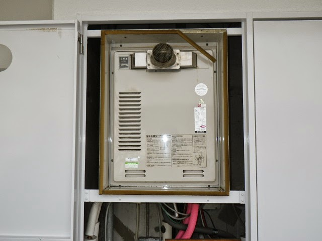 兵庫県 神戸市 東灘区 マンション ノーリツ 16号 ガス給湯器 高温水供給方式 PS扉内設置 前方排気 取替交換工事 施工