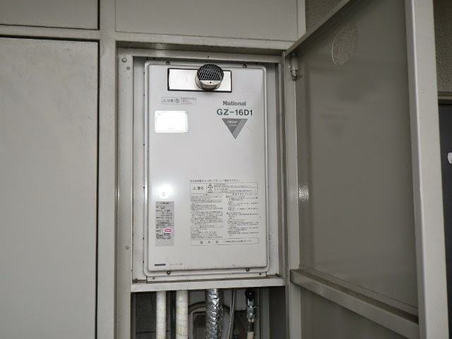 兵庫県 伊丹市 マンション リンナイ 16号 ガス給湯器 高温水供給方式 PS扉内設置 前方排気 取替交換工事施工