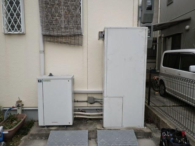 兵庫県 西宮市 戸建て住宅 ノーリツ 24号 エコジョーズ ガス温水暖房付きガス風呂給湯器 屋外設置型 セミオート 取替交換工事施工