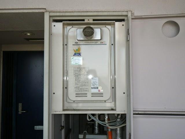 兵庫県 尼崎市 マンション ノーリツ 16号 ガス給湯器 高温水供給方式 PS扉内設置 前方排気 取替交換工事施工