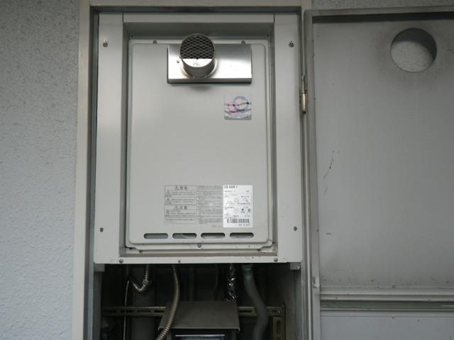 吹田市千里山東 マンション ノーリツ16号 ガス給湯器 取替交換工事施工 GS-1600T-1 から GQ-1637WS-T