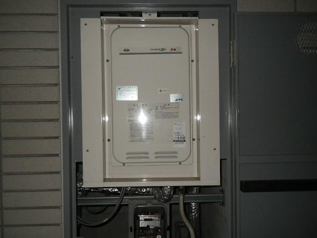 尼崎市久々知マンション ノーリツ16号ガス給湯器 クイックオート 取替交換工事施工 131-8085A から GQ-1627AWX-TB-DX BL