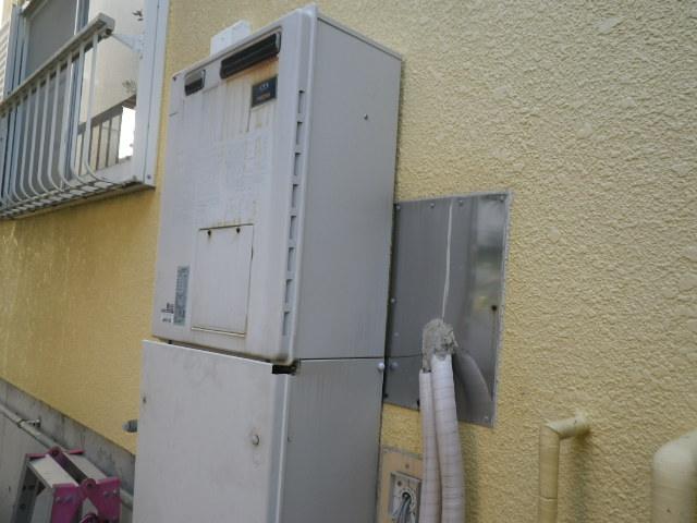 西宮市甲子園町 戸建住宅 リンナイ エコジョーズ 24号 ガスふろ給湯器 取替交換工事施工 135-M320 から RUF-E2405AW