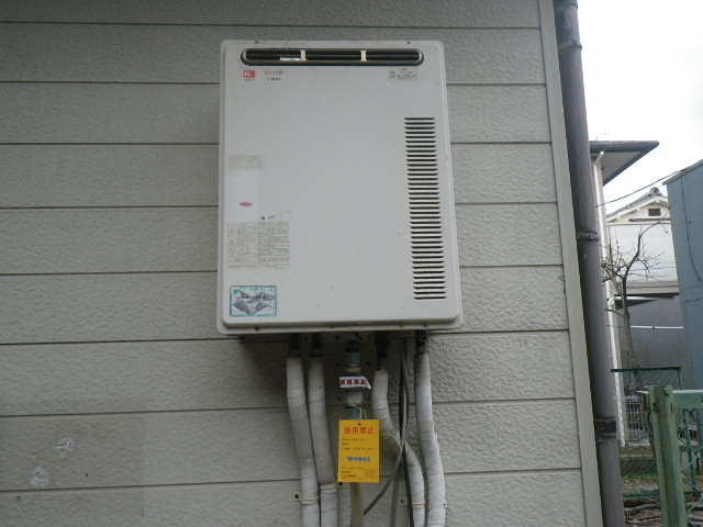 兵庫県尼崎市東難波町 戸建住宅 ノーリツ 16号ガス給湯器 取替交換工事施工 T-164A から GQ-1639WS-1