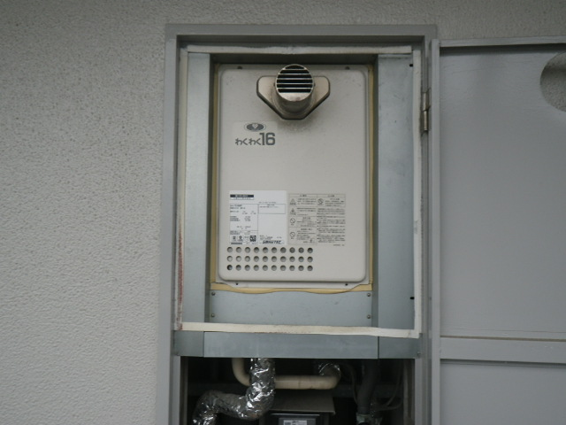 尼崎市小中島マンション ノーリツ16号ガス給湯器 PS扉内設置型 取替交換工事施工 大阪ガス 133-H412 YS1666RT から GQ-1639WS-T-1