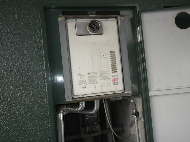 神戸市兵庫区塚本通マンション ノーリツ16号ガス給湯器 取替交換工事施工 リンナイRUX-1616PSOT-E から GQ-1639WS-T-1