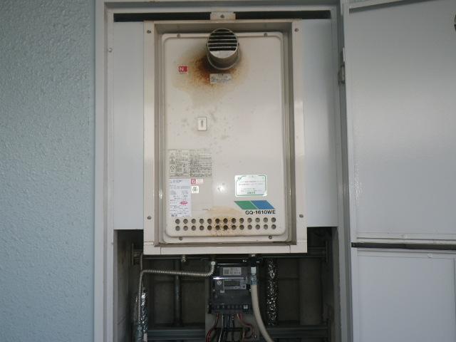 芦屋市公光町マンション ノーリツ16号ガス給湯器 取替交換工事施工 GQ-1610WE-T から GQ-1639WS-T-1