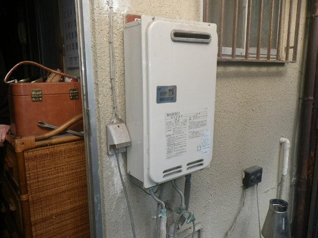 尼崎市栗山町 戸建住宅 ノーリツ16号ガス給湯器 取替交換工事施工 ハーマン YS1639R から GQ-1639WS-1
