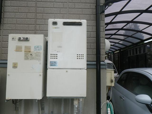 西宮市門戸西町 戸建住宅 CHOFU 長府ガスふろ給湯器 エコジョーズ取替交換工事施工 ノーリツGT-2428SAWX から GFK-S2450WKX