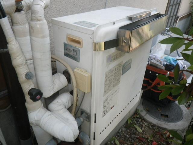 豊能町新光風台 戸建住宅 ノーリツ20号エコジョーズ ガスふろ給湯器 据置型2つ穴 取替交換工事施工 日立ハウステック KZ-204SA から GRQ-C2062SAX