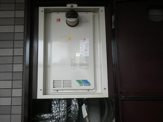 西宮市江上町マンション ノーリツ16号ガス給湯器 高温水供給式 取替交換工事施工 GQ-162AW-T から GQ-1627AWX-TB-DX BL