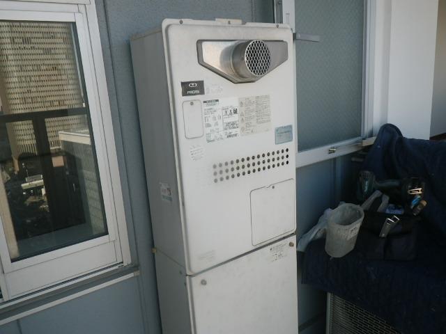 西宮市甲子園 マンション リンナイ24号ガス温水暖房付給湯器 取替交換工事施工 大阪ガス135-N052A から RUFH-A2400AT2-6